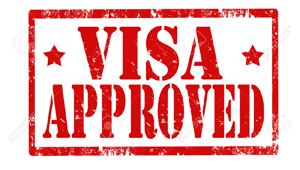 stamp visa approved in red over white background