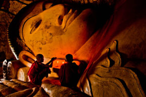 Prayer at a Reclining Buddha in Bagan
